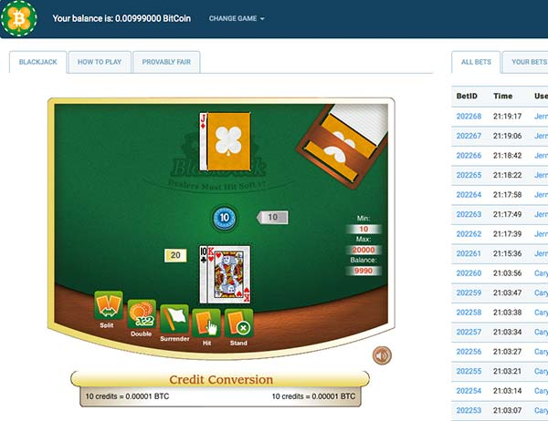 Crypto-games.net bitcoin blackjack game which is provably fair