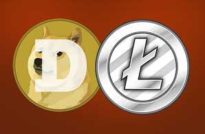 bitcoins, litecoins and dogecoins accepted