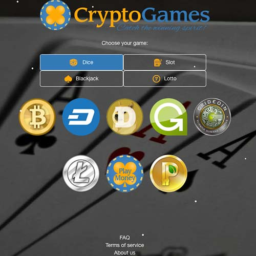 Cryptogames lobby with four games, dice, slot, blackjack and lotto