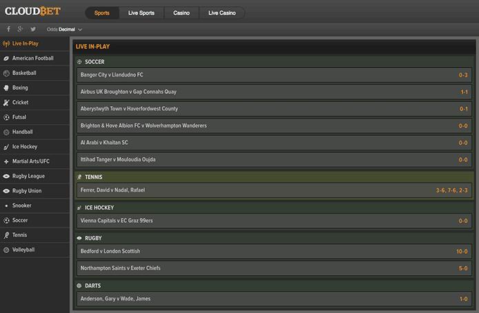 Cloudbet betting screen looks like this.