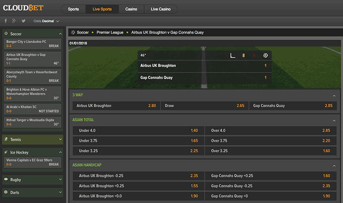 Live betting choices in CloudBet.