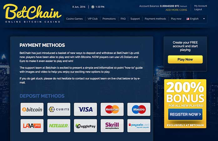 Multiple deposit options, Bitcoins, Euros, US Dollars
