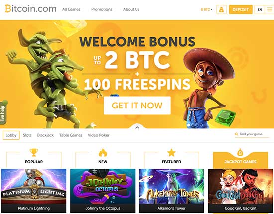 Casino.bitcoin.com review of the lobby