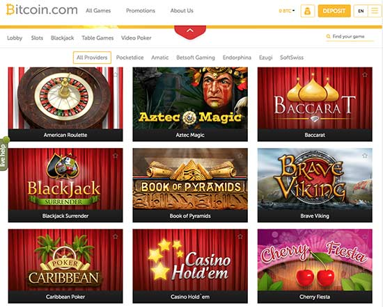 The bitcoin gaming selection in the btc casino.