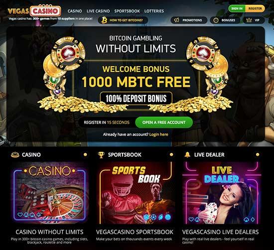 Vegascasino.io lobby and good bitcoin casino bonus