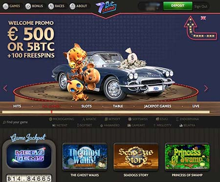 7bit casino review and image of the lobby and btc game selection