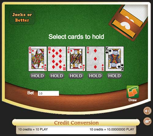 Jacks or Better video poker game at Crypto Games.