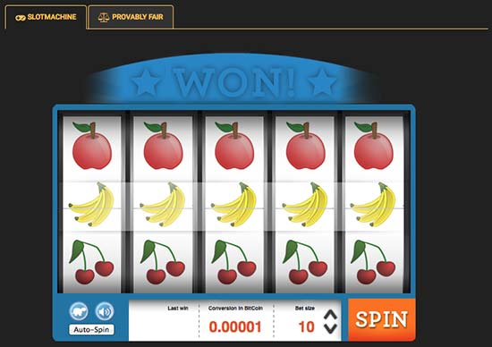 Bitcoin slot machine with jackpots