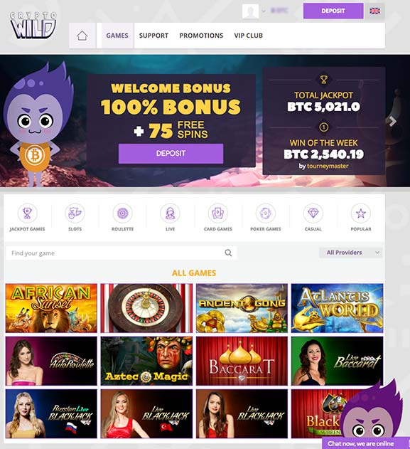 One of the newest Bitcoin Casinos is CryptoWild, which has a lot of bitcoin slot machines.