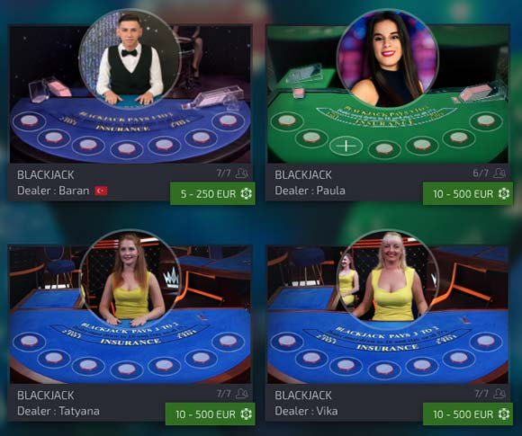live blackjack and live roulette is offered also