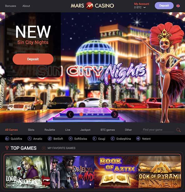 mars casino and bitcoin deposit bonus offerings