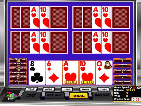Bitcoin Video Poker game in BitcoinPenguin.