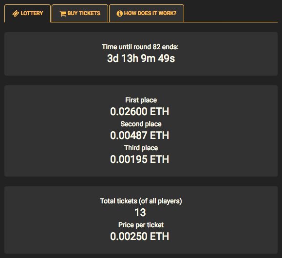 Ethereum Lottery in Crypto-Games.net