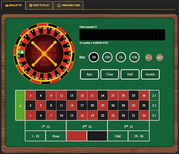 Simple and fast Ethereum Roulette in Crypto-Games.net