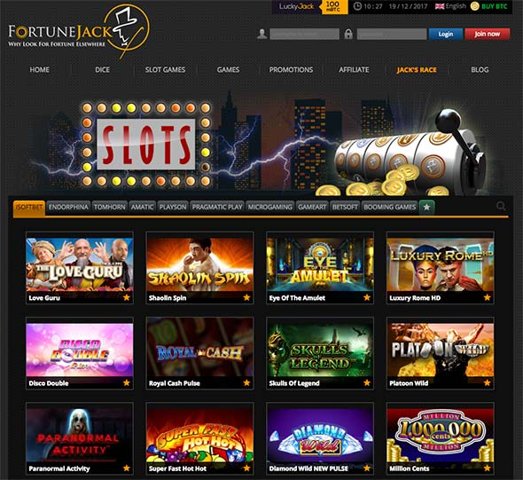 FortuneJack lobby and a huge selection of Bitcoin & Cryptocurrency casino games.