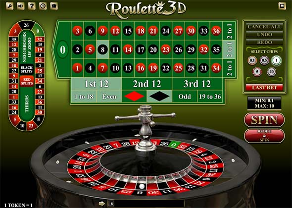 Cool looking 3D Bitcoin & Cryptocurrency Roulette in FortuneJack.