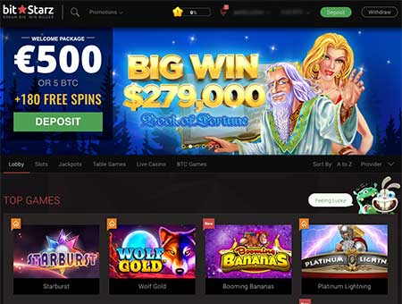 Bitstarz casino review and the image of the lobby