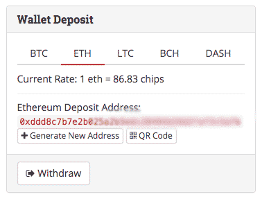 This is how the Deposit Screen looks like in Betcoin.ag. Note the exchange rate shown here in ETH.