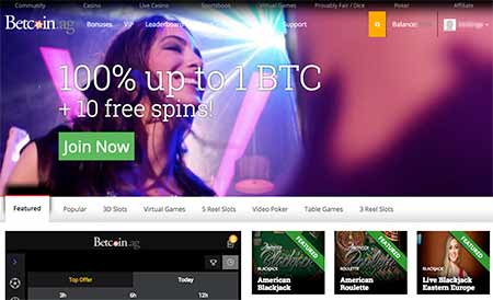 Betcoin.ag Cryptocasino lobby with support to Bitcoin, Ethereum, Litecoin, Bitcoin Cash and Dash.