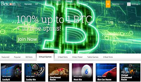 Betcoin.ag Bitcoin Casino lobby and some fancy (but slow) graphics and background videos rolling there.