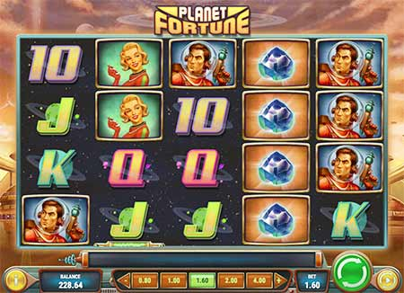 Really cool retro 60's space Bitcoin slot game Planet Fortune from Play'n Go.