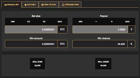 Simple dice game in Crypto-Games.net