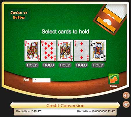 Bitcoin Video poker jacks or better in CryptoGames