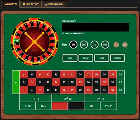 A simple and fast provably fair Roulette at Cryptogames Casino.