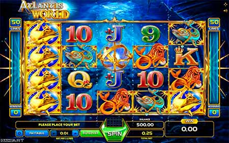 Atlantis World Bitcoin Slot game from GameArt.