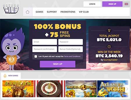CryptoWild Bitcoin and cryptocasino lobby