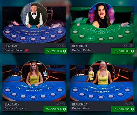 Mars Casino brings you also live table games with live dealers.
