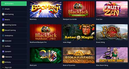 Small sample of the mBit Casino game selection.