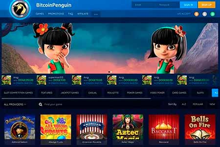 BitcoinPenguin review and the lobby view in this Bitcoin / Litecoin / Dogecoin casino.