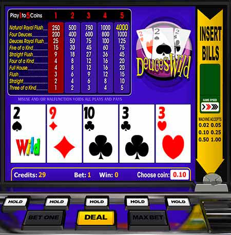 Deuces Wild Bitcoin / Litecoin / Dogecoin Video Poker in BitcoinPenguin.