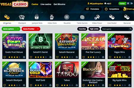 VegasCasino.io review and the game selection.