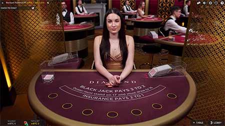 Live Bitcoin Blackjack in VegasCasino.io.