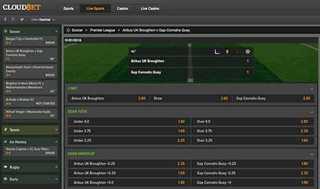 Many betting sites offer live bets. Here's an example of Cloudbet's Bitcoin live betting page.