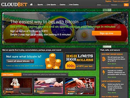 The lobby of Cloudbet, one of the best Bitcoin Sportsbetting sites.