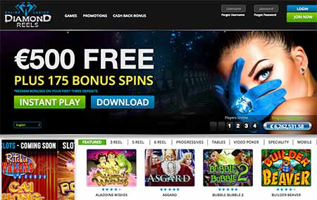 Diamond Reels Bitcoin casino lobby and slot game selection