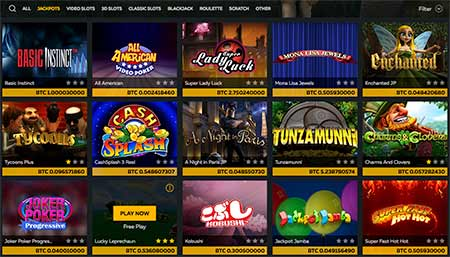 The jackpot slot game selection in FortuneJack casino.