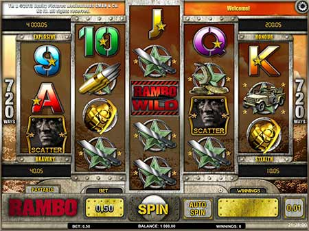 FortuneJack features a new Jackpot Slot game Rambo from iSoftBet.
