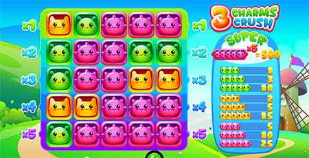 This is 3 Charms Crush 5-reel slot game from iSoftBet.