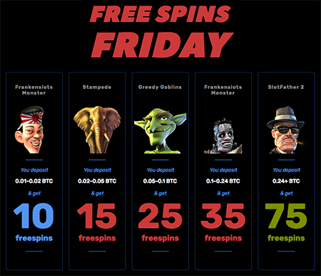 Free Spins Friday on BitcoinCasino.us.
