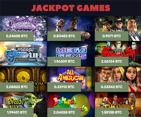 Some Jackpot slot games in Bitcoin Casino US.