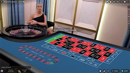 This is Svensk (Swedish) Live Roulette at BitStarz Casino.