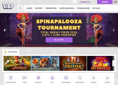 CryptoWild Bitcoin casino lobby and spinapalooza tournament banner
