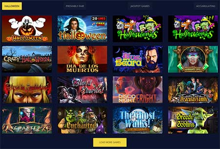 BetChain casino has a separate section for Halloween-themed slot games. Nice!