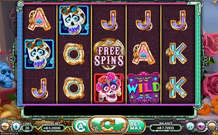 This is a Halloween-themed Bitcoin Cash slot game called Sugar Skulls. The game provider is Booming Games and this slot can be played at for example CryptoWild Casino.