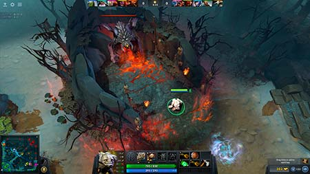 A screenshot from DOTA 2 eSports game.