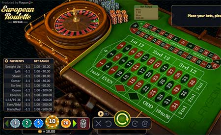 """This is European (French) roulette with track from Playson game provider. Note the """"race track"""" next to the standard roulette betting slots. This game is playable for example at FortuneJack casino."""